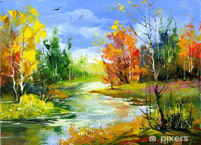 Pixerstick Sticker Herfst landschap met de houten rivier - Stijlen