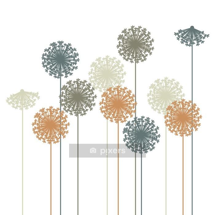 Adesivo da Parete Astratto tarassaco silhouette - vector - Adesivo da parete