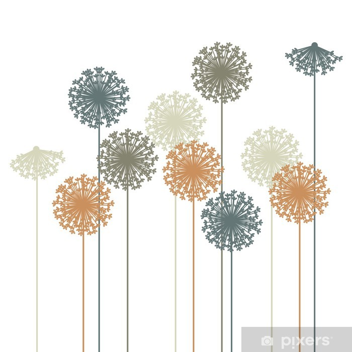 Autocolante Pixerstick abstract dandelion silhouette - vector - Decalque de parede