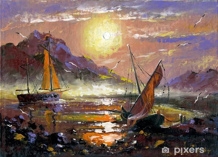 Nálepka Pixerstick Moře krajina s plachetnice - Voda
