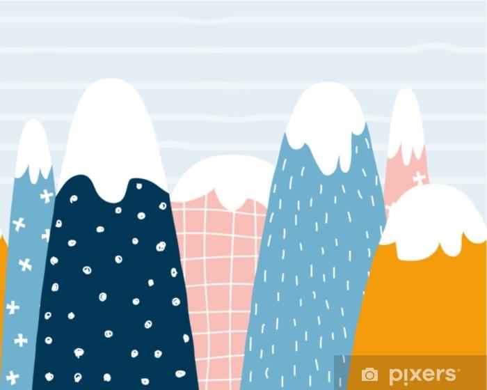 Papier Peint Modèle Sans Couture De Montagnes Mignonnes Graphique