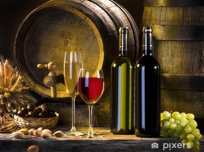 Fototapeta winylowa Martwa natura z czerwonego wina i beczki - Tematy