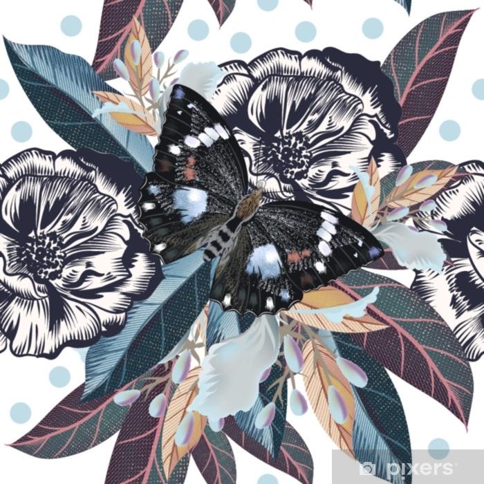 Sticker Pixerstick Beau modèle élégant avec des fleurs et papillons - Plantes et fleurs