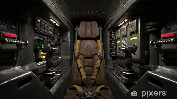 Science fiction pilot's seat in the cockpit. Futuristic spaceship cockpit. Old brown leather pilot seat with yellow safety belts. Sci-fi space fighter craft cockpit. Mech Pilot's seat. 3d rendering. Pixerstick Sticker - Transport