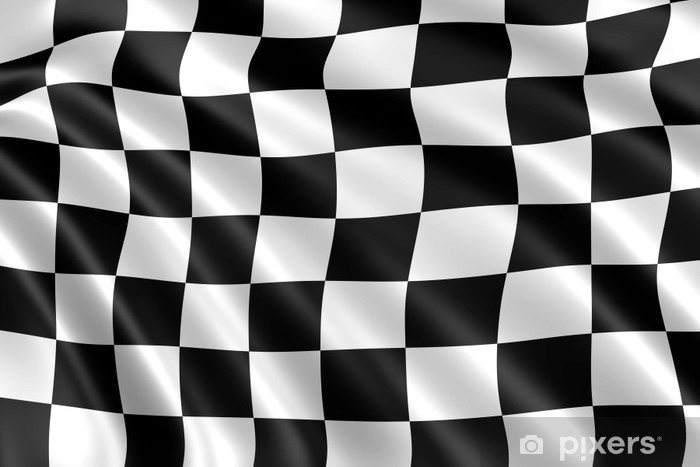 Fotobehang zwart wit geblokte vlag formule u pixers we leven