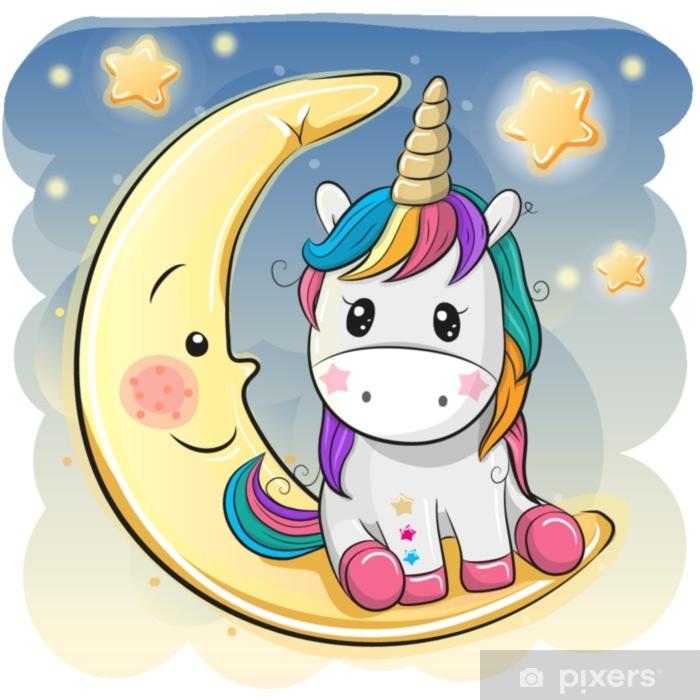 Sticker Pixerstick Licorne mignonne dans un chapeau de pilote est assis sur la lune - Animaux