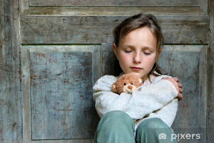 Pixerstick Aufkleber Trauriges kleines Mädchen - Themen