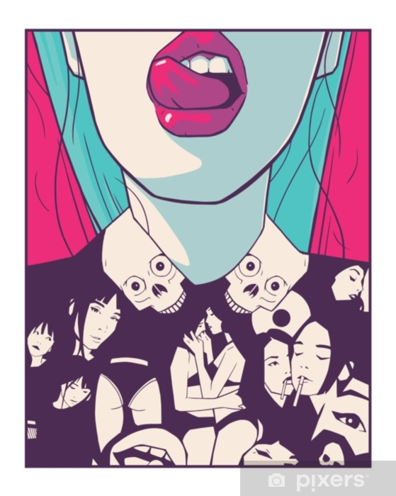 Pixerstick Aufkleber T-Shirt-Druckdesignillustration des attraktiven Mädchens in der Comic-Buch-Artzeichnung - Lifestyle