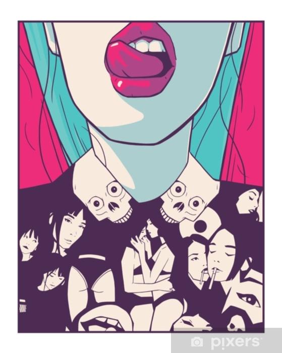 Naklejka Pixerstick T shirt design drukowania Ilustracja atrakcyjne dziewczyny w stylu komiksów rysunku - Styl życia
