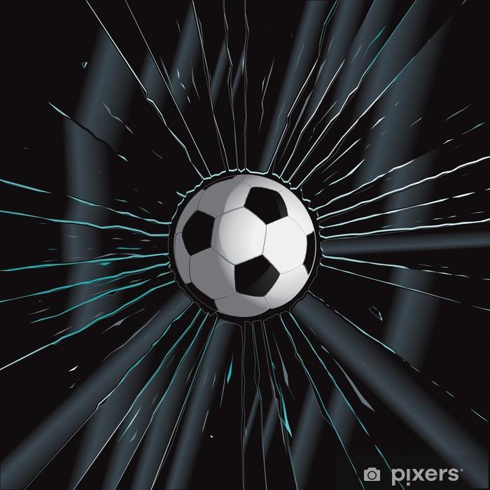 Sticker pour porte Brisé en verre 2 Soccer Ball -