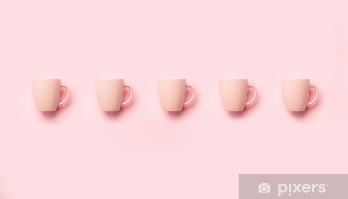 Pattern from pink cups over punchy background. Birthday party celebration, baby shower concept. Pastel colors. Banner. Minimalist style design Vinyl Wall Mural - Food