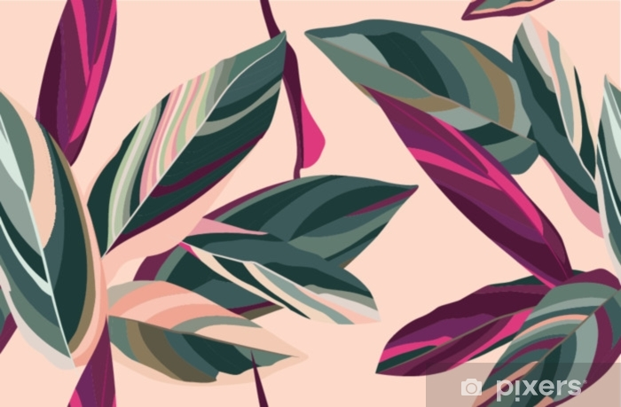 Leaves of Cordelia on a pink background. Floral seamless pattern. Pixerstick Sticker - Plants and Flowers
