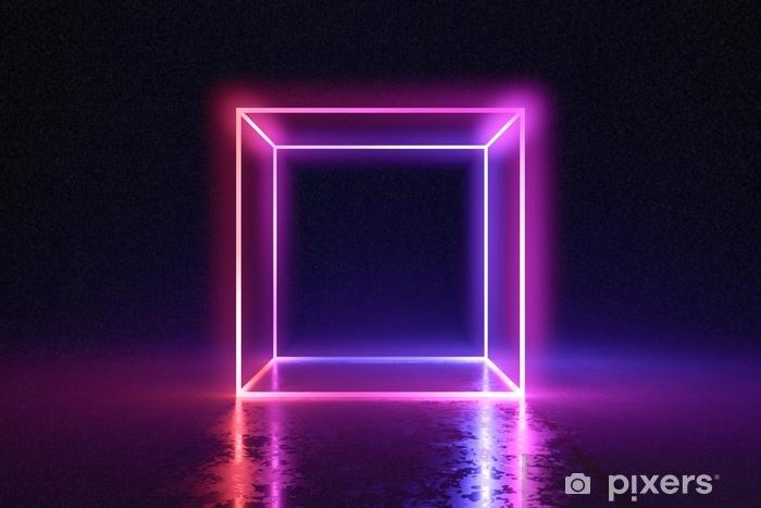 Vinilo Cubo de neón abstracto brillando brillantemente en el cuarto oscuro.  3d rindió la ilustración. Pixerstick