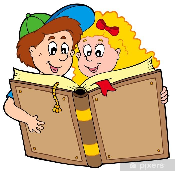 Plakat Skole gutt og jente lesebok • Pixers® - Vi lever for forandring
