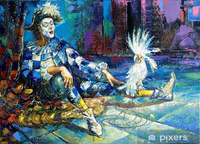 Papier peint vinyle L'arlequin et un perroquet blanc -