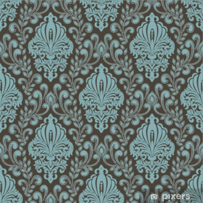 Vector damask seamless pattern background. Classical luxury old fashioned damask ornament, royal victorian seamless texture for wallpapers, textile, wrapping. Exquisite floral baroque template. Pixerstick Sticker - Graphic Resources