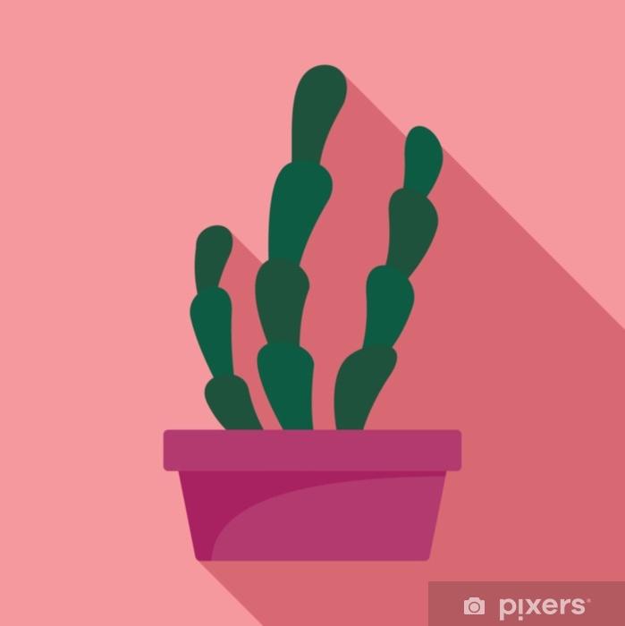 Naklejka Pixerstick Sukulent ikona doniczki kaktusów. Płaskie ilustracja kaktus suculent wektor ikona na projektowanie stron internetowych - Rośliny i kwiaty