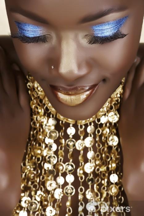 Afrikansk kvinde med guld Vinyl fototapet -