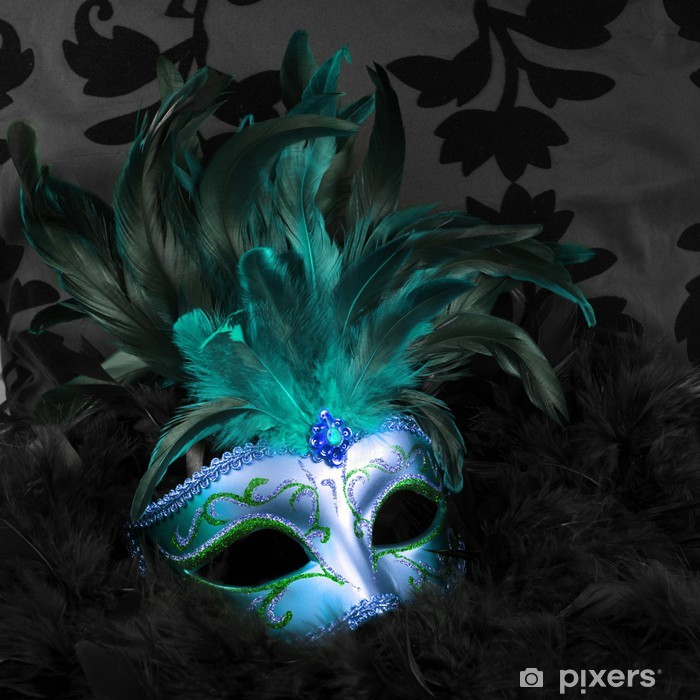 green and blue mysterious mask (venice) Poster - Destinations