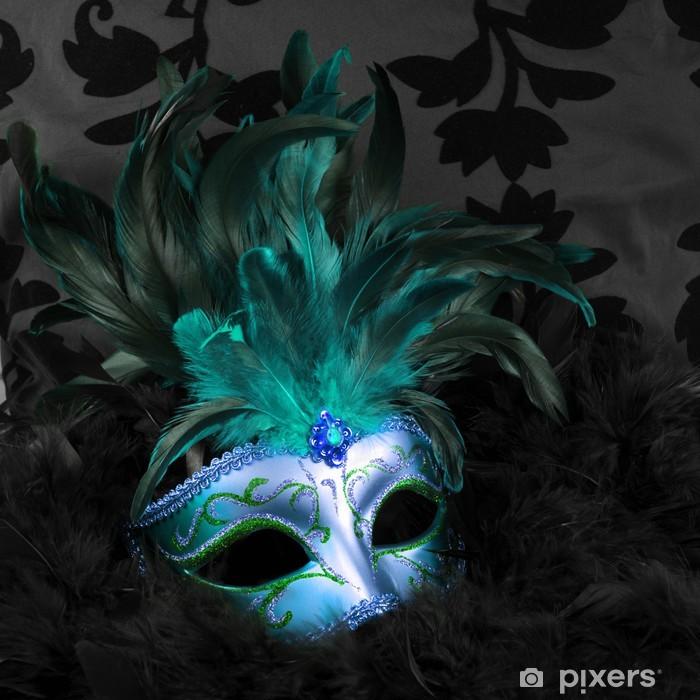 green and blue mysterious mask (venice) Pixerstick Sticker - Destinations
