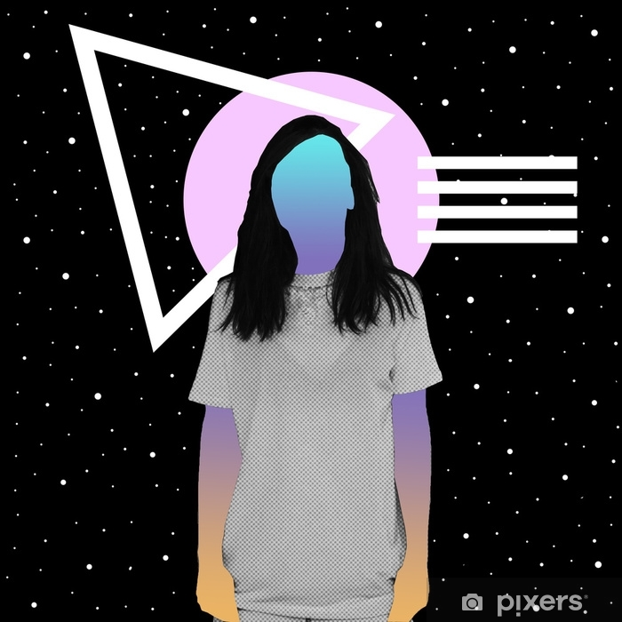 A girl with a newspaper texture and a gradient instead of a face stands against the background of space and geometric shapes. Contemporary art collage. Vinyl Wall Mural - Graphic Resources