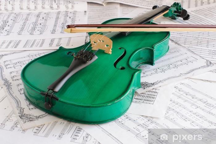 Fotomural Estándar Violín verde y cuenta de la música - Música