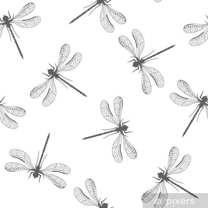 Seamless pattern with decorative dragonfly Washable Wall Mural - Animals
