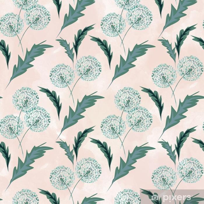Papier peint vinyle Transparente motif floral avec des pissenlits sur fond clair. - Ressources graphiques