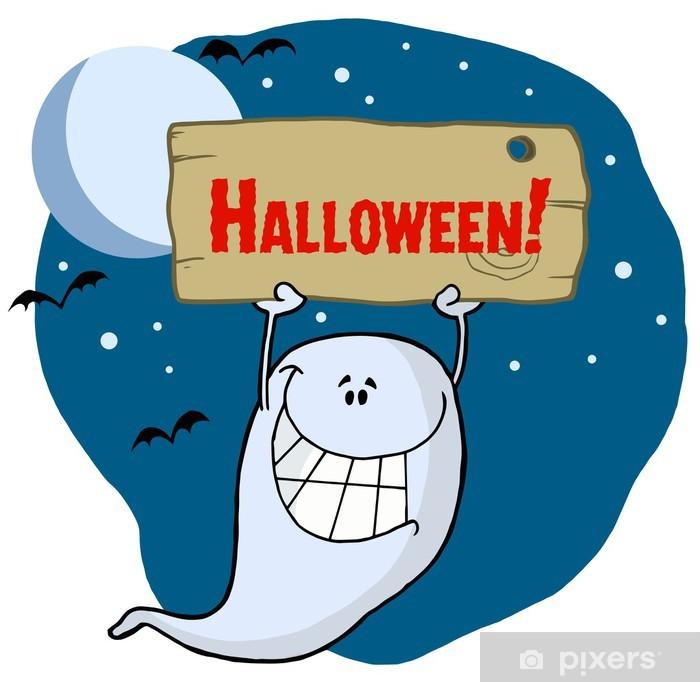 Plakat Duch trzyma drewniany znak halloween - Święta międzynarodowe