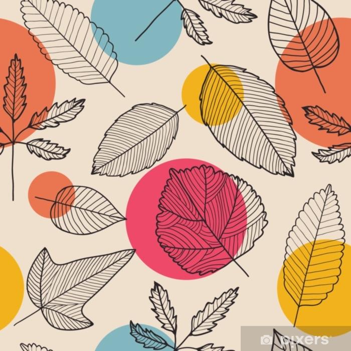 Alfombrilla de baño Vector deja patrón transparente, dibujado a mano fondo de otoño. - Recursos gráficos