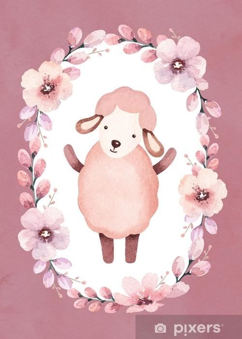 Fotomural Autoadhesivo Ilustración acuarela de ovejas lindas. perfecto para la tarjeta de felicitación - Recursos gráficos