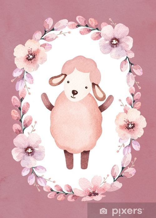 Watercolor illustration of cute sheep. Perfect for greeting card Self-Adhesive Wall Mural - Graphic Resources