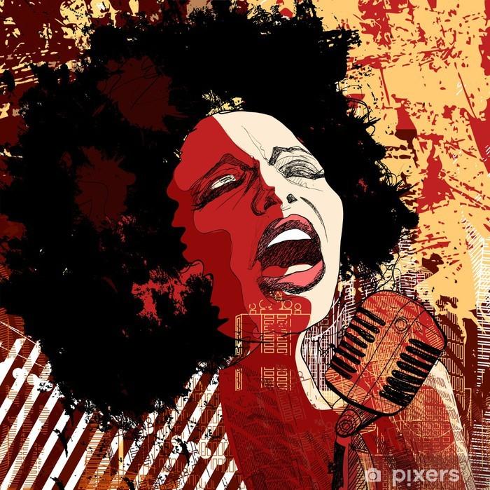 Fotomural Estándar Cantante de jazz en el fondo del grunge - Jazz
