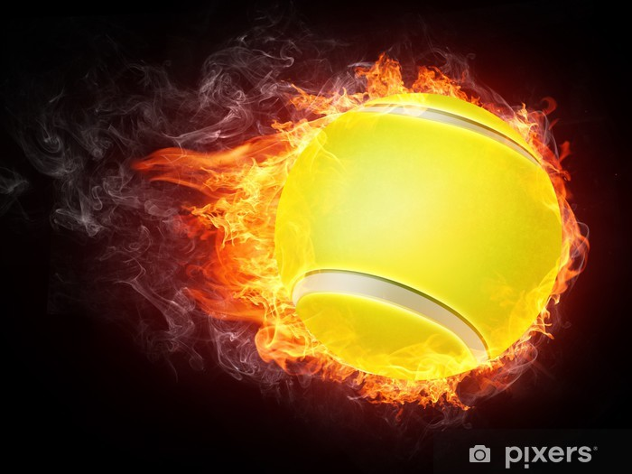 Tennis Ball in Fire Vinyl Wall Mural - Tennis