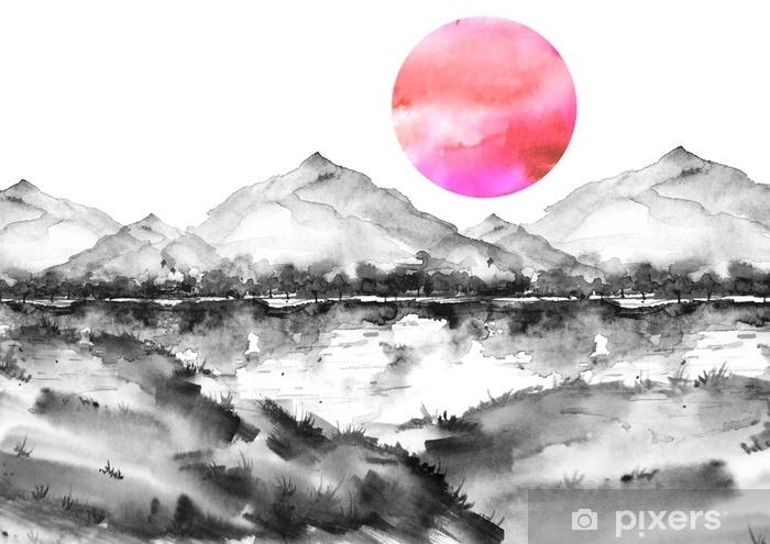 çıkartması Suluboya Boyama Doğa Dağlar Kırsal Dağlar Bitkiler Kara Silüeti Kırmızı Pembe Güneş Gün Batımı şafak Kartpostal Resim Afiş