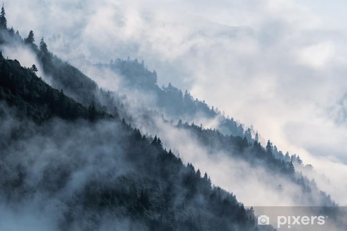 Sticker Pixerstick Pente de montagne boisée dans le brouillard de vallée bas avec des silhouettes de conifères à feuilles persistantes enveloppées dans la brume. - Plantes et fleurs