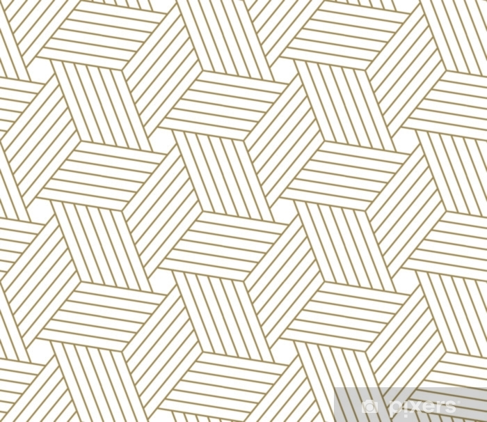 Modern simple geometric vector seamless pattern with gold line texture on  white background  Light abstract wallpaper, bright tile backdrop  Wall  Mural