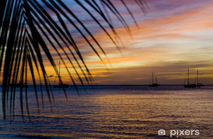 Vinil Duvar Resmi Karayip Denizi, Grand Anse Körfezi üzerinde gün batımı; Grenada - Amerika