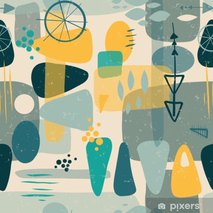 Pixerstick Sticker Midden van de eeuw vormen abstracte naadloze vector achtergrond. 1950 afdrukken. retro-geïnspireerde vormen vierkanten, rechthoeken, druppels en driehoeken in blauw, geel, grijs op beige. verontruste vintage print. fifties - Grafische Bronnen