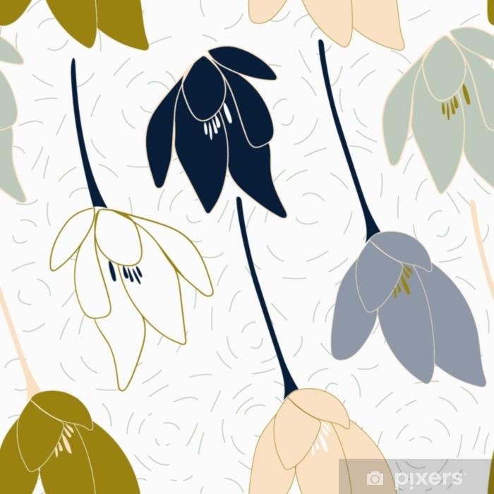 Fototapeta winylowa Tulipany lub krokusy wektor wzór. kwiatowy nowoczesne tło z stylizowane ręcznie rysowane kwiaty w pastelowych kolorach. - Zasoby graficzne