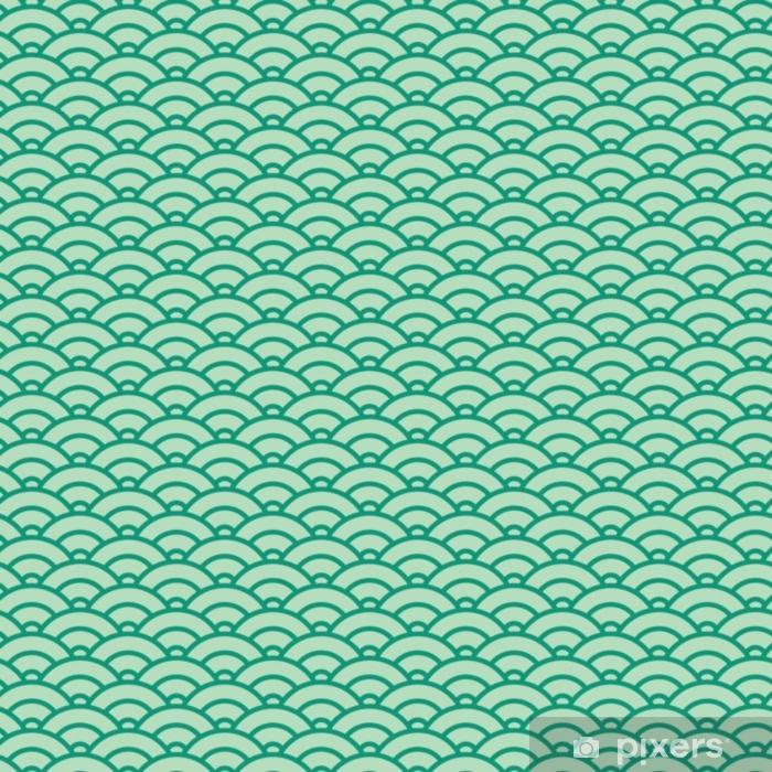 Självhäftande Fototapet Grundläggande japanska våg sömlösa mönster. grönt färgschema - Grafiska resurser