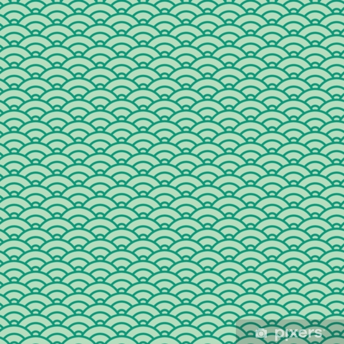 Basic Japanese wave seamless pattern. Green color scheme Vinyl Wall Mural - Graphic Resources