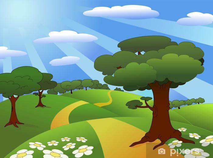 Nálepka Pixerstick Meadow krajina - Roční období