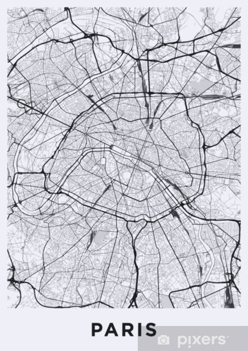 Light Paris city map. Road map of Paris (France). Black and white ...