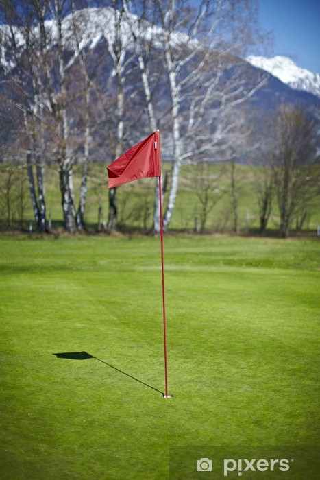 Sticker Pixerstick Red marqueur de trou du pavillon au terrain de golf - Sports individuels