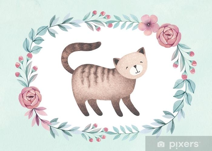 Fotomural Estándar Ilustración acuarela de gato lindo. perfecto para la tarjeta de felicitación - Recursos gráficos