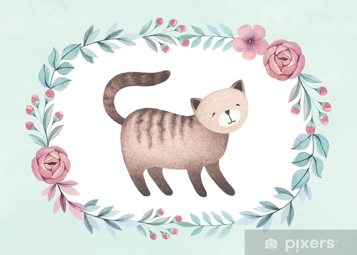 Watercolor illustration of cute cat. Perfect for greeting card Vinyl Wall Mural - Graphic Resources