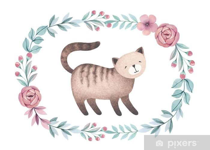 Fotomural Autoadhesivo Ilustración acuarela de gato lindo. perfecto para la tarjeta de felicitación - Animales