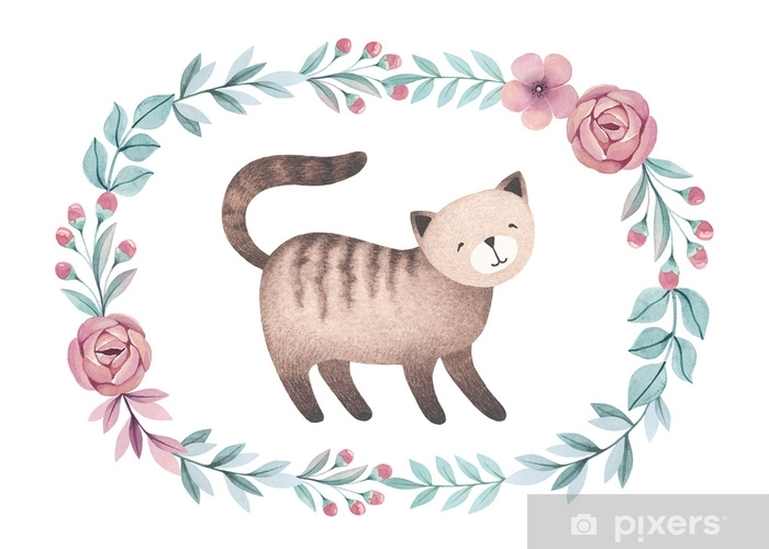 Watercolor illustration of cute cat. Perfect for greeting card Vinyl Wall Mural - Animals