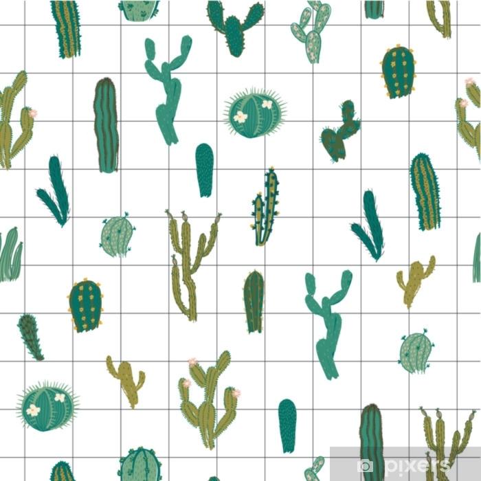 Papier Peint Modèle Sans Couture De Vecteur Avec Cactus Texture